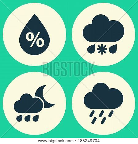 Climate Icons Set. Collection Of Nightly, Moisture, Douche And Other Elements. Also Includes Symbols Such As Wet, Douche, Nightly.