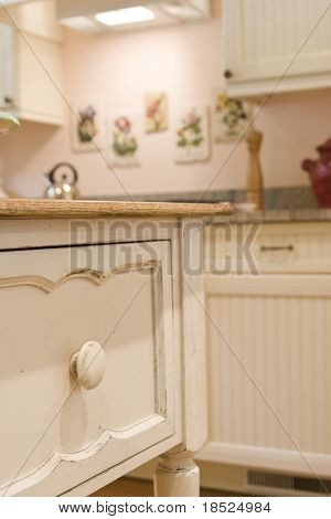 detail of white custom kitchen cabinet, shallow focus on foreground
