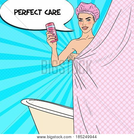 Pretty Woman in Bathroom Holding Shower Gel. Skin Care. Pop Art vector illustration