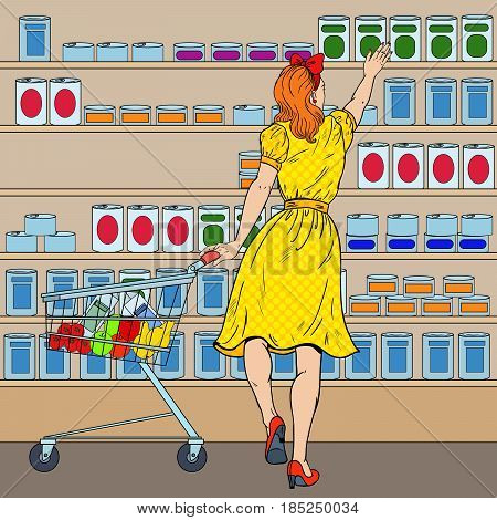 Woman Shopping at the Supermarket with Cart. Pop Art vector illustration