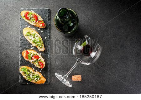 Bruschetta With Pesto, Parmesan, Tomatoes And Basil