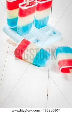 Patriotic Red White Blue Popsicles