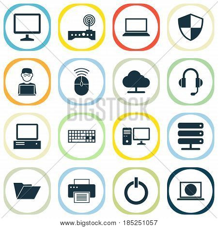 Computer Icons Set. Collection Of Printing Machine, Personal Computer, Computer Mouse And Other Elements. Also Includes Symbols Such As Start, Programmer, Power.