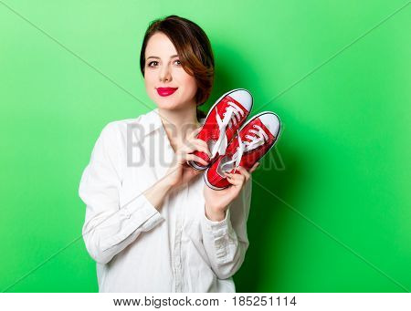Young Woman With Gumshoes