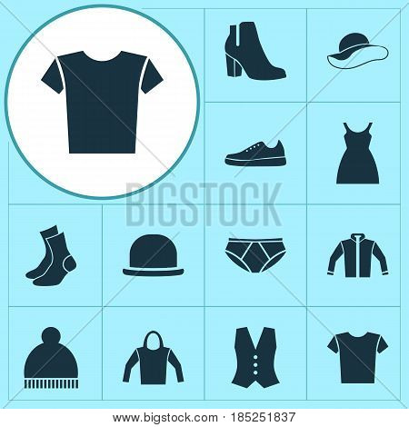 Dress Icons Set. Collection Of Waistcoat, Dress, Female Winter Shoes And Other Elements. Also Includes Symbols Such As Sweatshirt, Vest, Elegant.