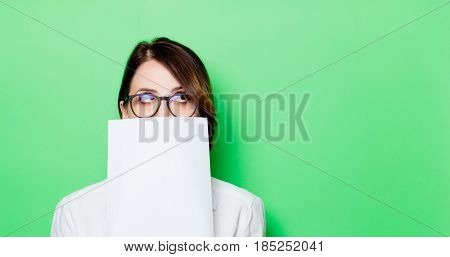 Young Surprised Woman With Paper