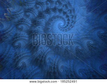 An abstract computer generated modern fractal design on dark background. Abstract fractal color texture. Digital art. Abstract Form & Colors. Abstract fractal element pattern for your design. Ocean blue wave