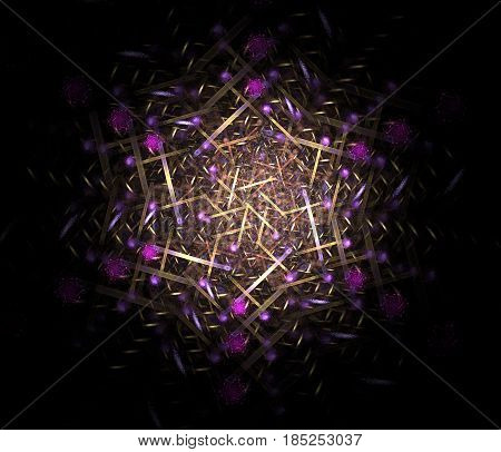 An abstract computer generated modern fractal design on dark background. Abstract fractal color texture. Digital art. Abstract Form & Colors. Abstract fractal element pattern for your design. Star on black