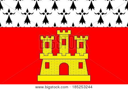 Flag of Dinan is a walled Breton town and a commune in the Cotes-d'Armor department in northwestern France. Vector illustration