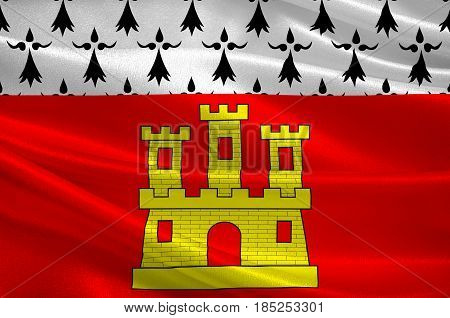 Flag of Dinan is a walled Breton town and a commune in the Cotes-d'Armor department in northwestern France. 3D illustration
