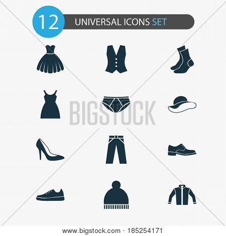 Clothes Icons Set. Collection Of Briefs, Cardigan, Elegance And Other Elements. Also Includes Symbols Such As Cardigan, Elegant, Half-Hose.