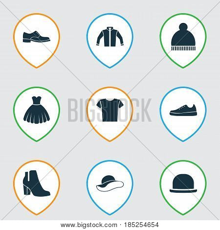 Clothes Icons Set. Collection Of Panama, Female Winter Shoes, Elegance And Other Elements. Also Includes Symbols Such As Gumshoes, Pompom, Headgear.