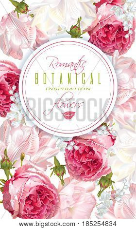 Vector vertical banner with garden roses and tulip flowers on white background. Romantic design for natural cosmetics, perfume, women products. Can be used as greeting card or wedding invitation