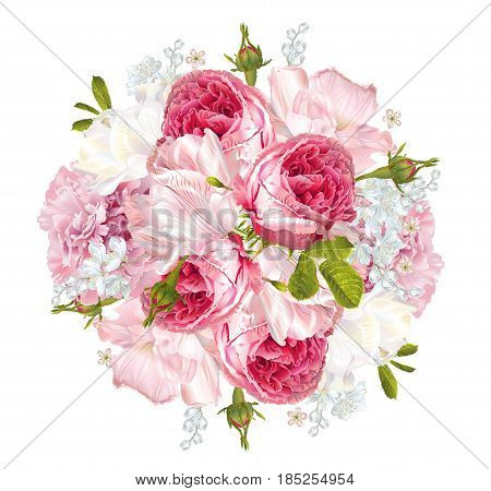 Vector floral composition with garden roses and tulip flowers on white background. Romantic design for natural cosmetics, perfume, women products. Can be used as greeting card or wedding invitation