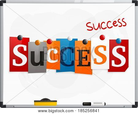 The word Success made from newspaper letters attached to a whiteboard or noticeboard with magnets. Marker pen.
