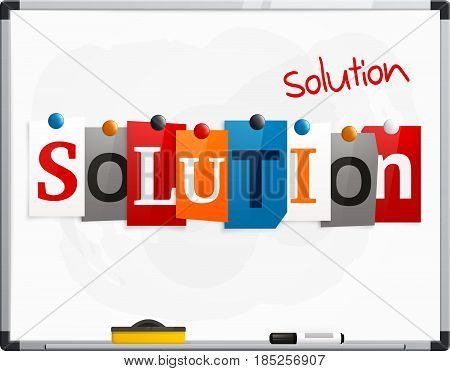 The word Solution made from newspaper letters attached to a whiteboard or noticeboard with magnets. Marker pen.