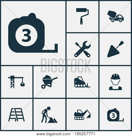 Industry Icons Set. Collection Of Lifting Hook, Spatula, Stair And Other Elements. Also Includes Symbols Such As Bulldozer, Tower, Hook.