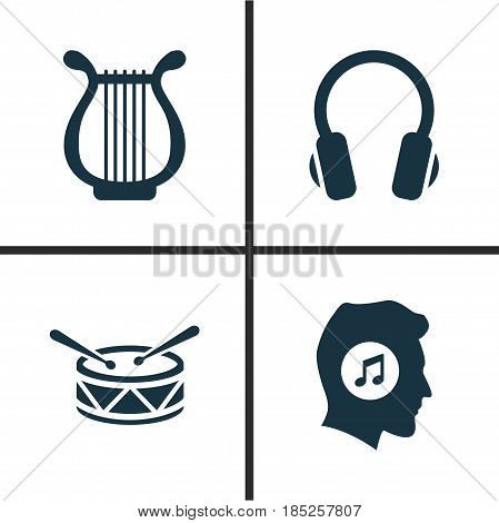 Multimedia Icons Set. Collection Of Earphone, Barrel, Lyre And Other Elements. Also Includes Symbols Such As Meloman, Music, Earphone.