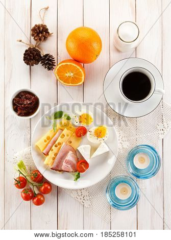 Breakfast with coffe