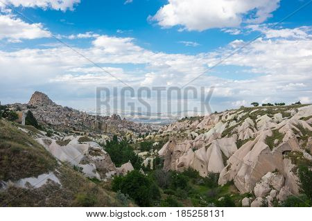 Pigeon valley and Ushisar castle in Cappadocia Central Anatolia Turkey
