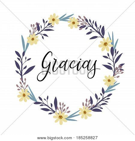 Gracias. Thank You in spanish hand lettering inscription. Thank You Modern Calligraphy. Thank You Greeting Card. Vector Illustration. Isolated on White Background