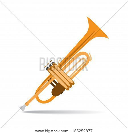 Vector illustration of trumpet isolated on a white background. Wind musical instrument in flat style design.