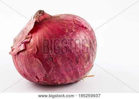 Red bulb onion (Allium cepa) isolated in white background