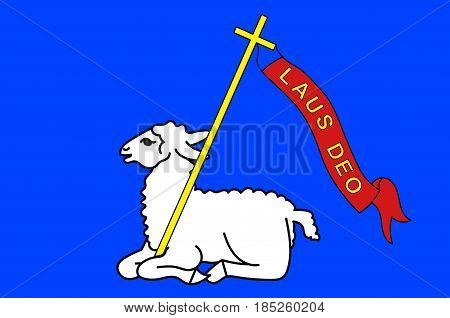 Flag of Lannion is a commune in the Cotes-d'Armor department in Brittany in northwestern France. Vector illustration