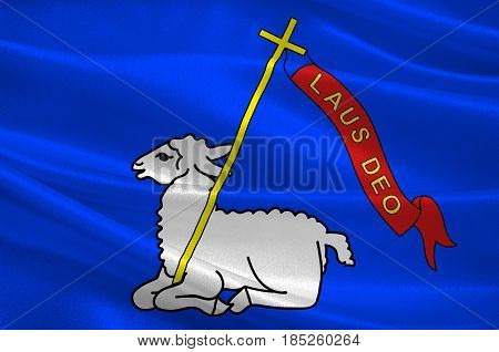 Flag of Lannion is a commune in the Cotes-d'Armor department in Brittany in northwestern France. 3D illustration