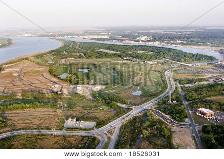 aerial view of new development and golf course on island