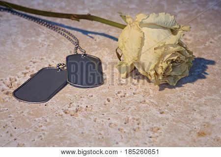 dried rose with military dog tags on stone background