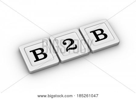 Business to business symbol. B2B sign. 3D illustration on white background.