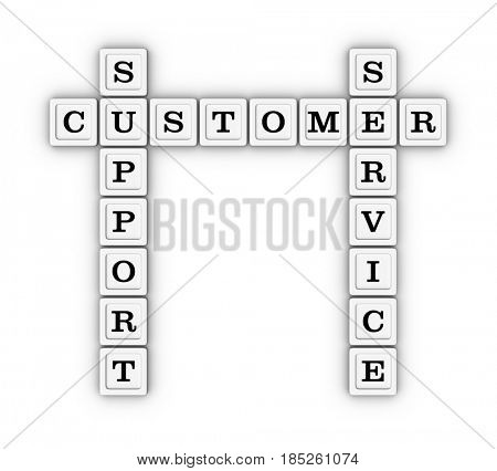 Customer support and service crossword puzzle. 3D illustration on white background.