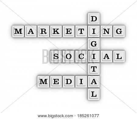 Digital marketing social media crossword puzzle. 3D illustration on white background.