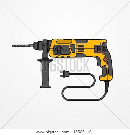 Typical rotary hammer with wire and auger. Modern isolated drill tool in flat style. Professional power tool vector stock image.