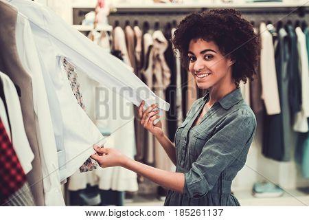 Afro American Girl Doing Shopping