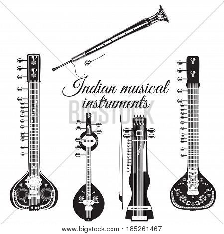 Vector black and white set of indian musical instruments, flat style. Sarangi, sitar, saraswati veena and shehnai icons isolated on white background.