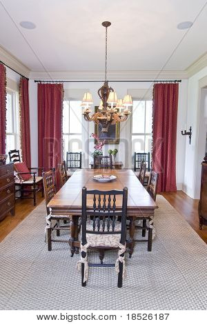 well decorated diningroom with wood table and chairs