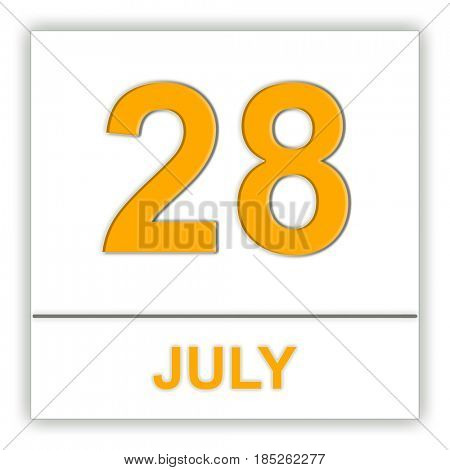 July 28. Day on the calendar. 3D illustration