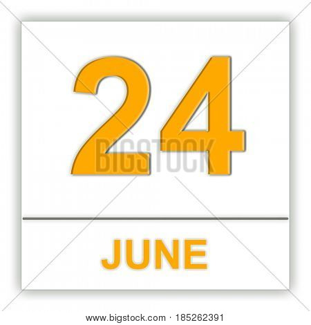 June 24. Day on the calendar. 3D illustration