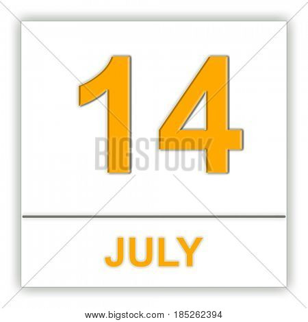 July 14. Day on the calendar. 3D illustration