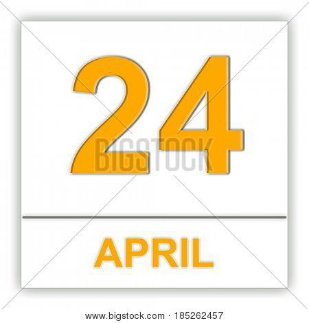April 24. Day on the calendar. 3D illustration