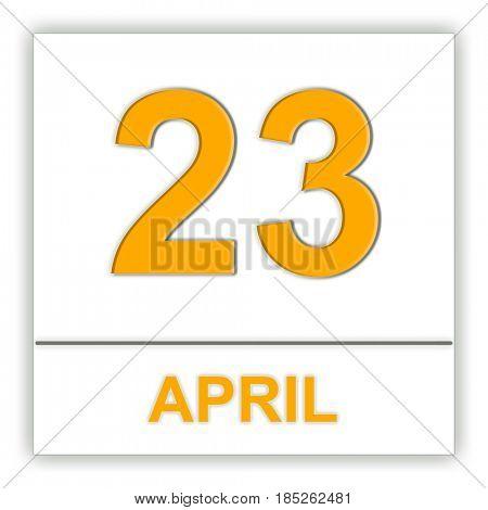 April 23. Day on the calendar. 3D illustration