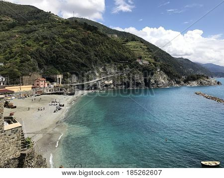 A beautiful beach in a fishing village called Monterosso, in Cinque Terre, Italy. Photo taken May 3, 2017.