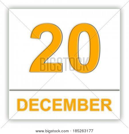 December 20. Day on the calendar. 3D illustration