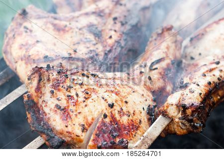 Marinated beef BBQ Skewers, barbecue pork and lamb shashlik shish kebab, prepare barbecue meat outdoor on fire. Food and holliday concept.