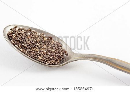 Chia seeds (Salvia hispanica) isolated in white background