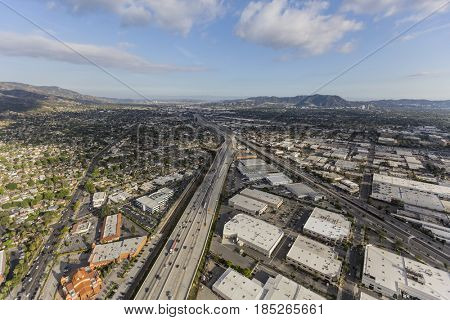 Aerial view of the Golden State 5 Freeway in Burbank near Los Angeles, California.