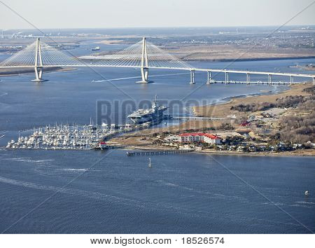 aircraft carrier in port in charleston, south carolina