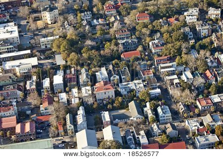 aerial view of old city of charleston south carolina
